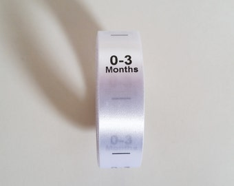 0-3mth size labels. Sew in White Satin Ribbon with Black print. Baby Clothing Tags