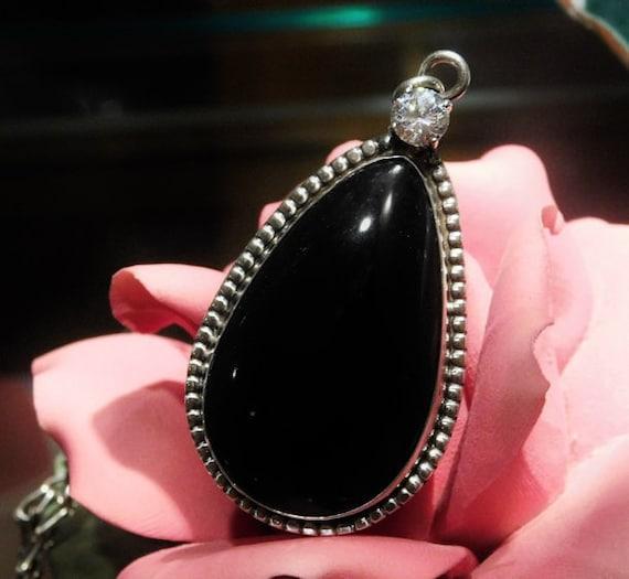 Artisan Black Onyx Pendant Sterling Silver White Topaz Vintage Pendant George 1950s Mid Century Midcentury Southwestern Statement Jewelry