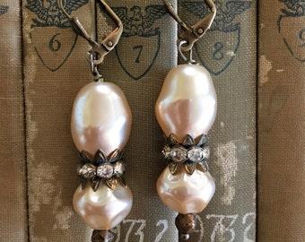 Marilyn darling: vintage assemblage earrings, boho bling, repurposed jewlery