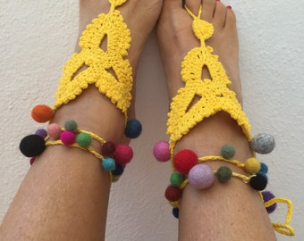 pompom sandals, yellow barefoot sandals, felt pompoms, crochet beach sandals with pompoms and silver coin charms