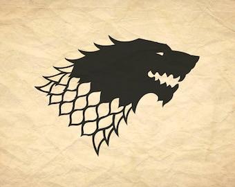 House Stark Inspired Vinyl Decal *Choose Size & Color* Game of Thrones Inspired Vinyl Sticker - House Stark Wolf Sigil Detailed Artwork