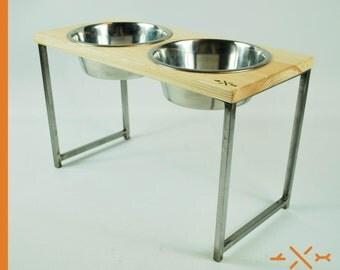 Dog bowl stand, double feeding station, industrial decor, home decor, rustic decor, pet decor, elevated dog bowl, pet feeding station