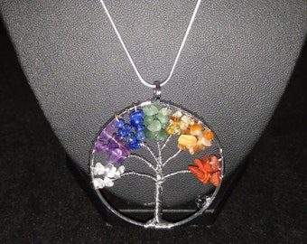 Rainbow Tree of Life Necklace, Silver Chain