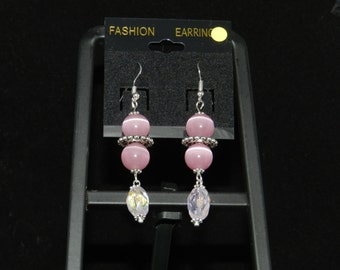 Pink Cats Eye Earrings