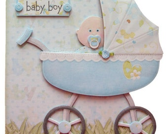Baby Boy Pram Shaped Card Hand Crafted 3D Decoupage with Matching Envelope New Baby Congratulations Baby Shower
