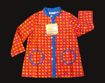 Vintage NOS 60's Red Cats Printed Blouse French Stock 2-3 Years