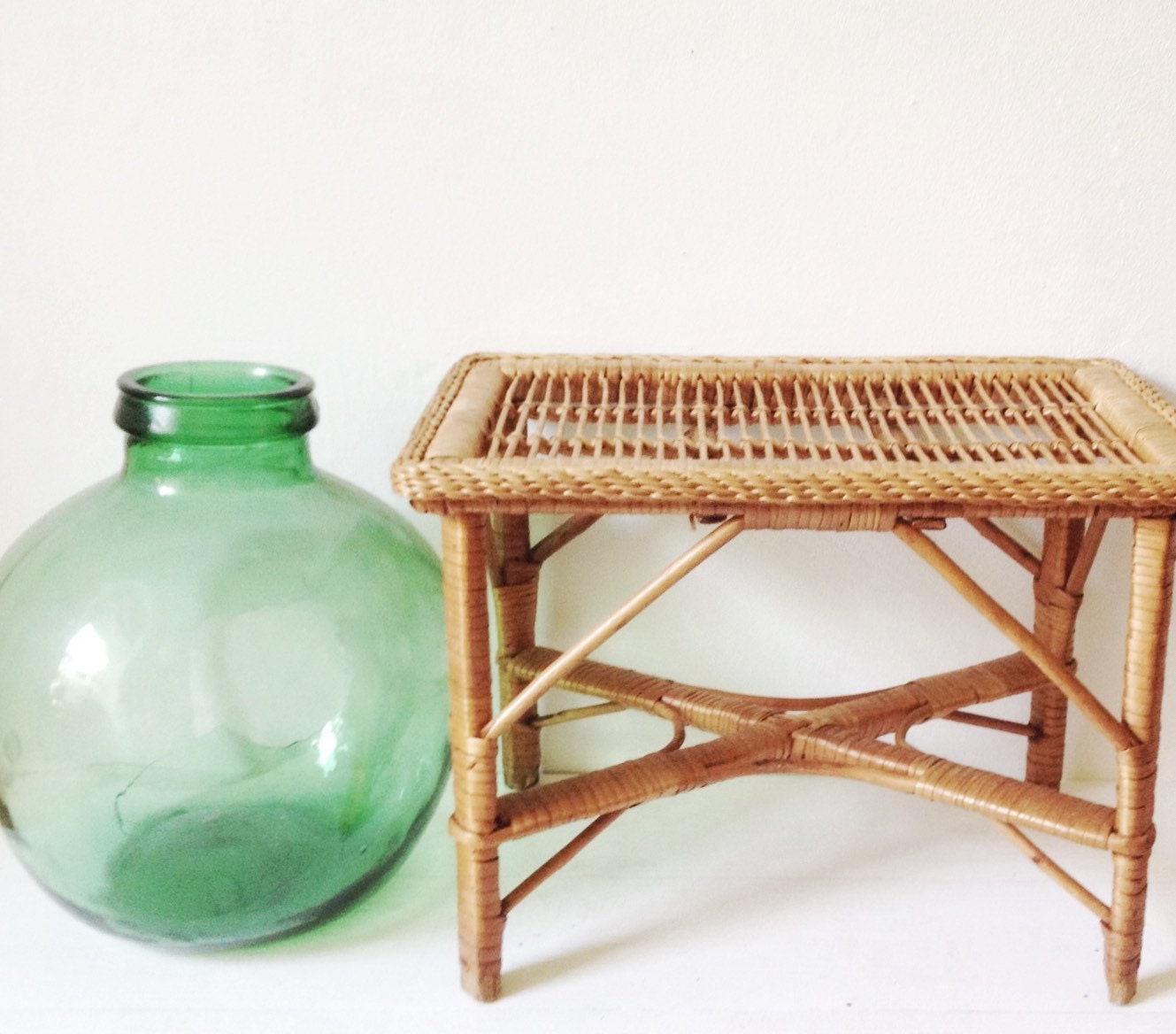 Bamboo Plant On Table: Vintage Bamboo Plant Stand Or Low Table