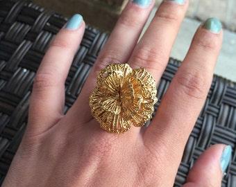 Gold Filigree Flower Adjustable Ring