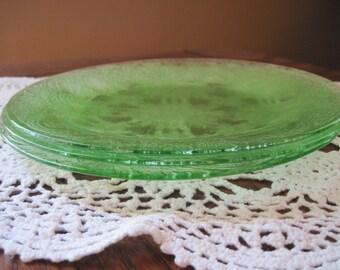 3 Dinner Plates Indiana Glass Green Horseshoe NO. 612 - Item #1290