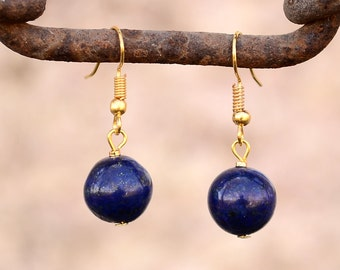 Lapis earrings, Lapis lazuli earrings, Lapis gold plated earrings, Lapis earrings gold, Gold earrings lapis, Lapis lazuli drop earrings.