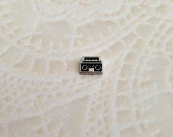 Boom box floating charm for memory lockets