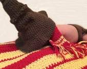 Harry Potter Photo Prop Sorting Hat Scarf Diaper Cover and Blanket in Gryffindor Colours