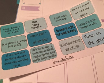 Inspirational/Motivational Shades of Blue Quote Stickers - Planner Stickers - Half Box Quotes - Erin Condren/PlumPaper/Happy Planners & More