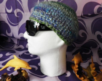 Blues and Mossy Greens Hand Crochet Beanie Hat  Size M