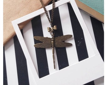 Antique Bronze Style Dragonfly Necklace