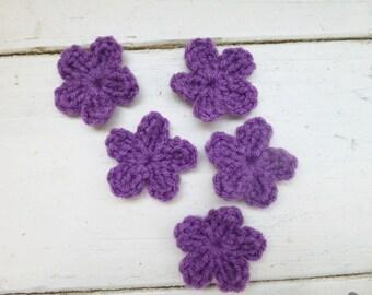 Crochet flower applique, small crochet flowers, applique flowers, crochet embellishment, ready to ship, handmade, hand crochet, floral