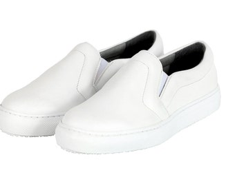 MALKIA WHITE, Vegan Slip-on, Non Leather