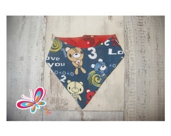 bandana reversible with with robot blue Pooh and Red back