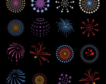 Fireworks Decal Collection, SVG, DXF and AI Vector files for use with Cricut or Silhouette Vinyl Cutting Machines