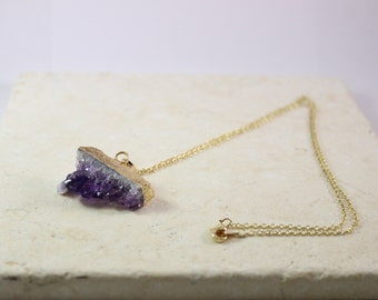 Purple Amethyst Crystal Pendant Natural Stone Neckalce Jewelry