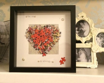 You are my missing piece - Jigsaw Heart Shadow Box