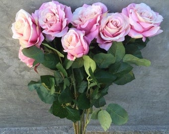 "Pink Rose Bush, Artificial, Faux, Silk Wedding Flowers - 21"" Tall"