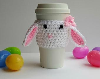 Crochet cozy - Coffee cozy - Bunny cozy - Coffee sleeve - Easter cozy - Cozy crochet - Handmade cozy