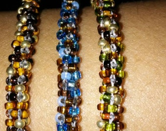 Hand Beaded Bracelets- Cubic Right- Angle Weave