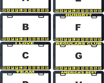 Follow me waffle house funny assorted license plate frame