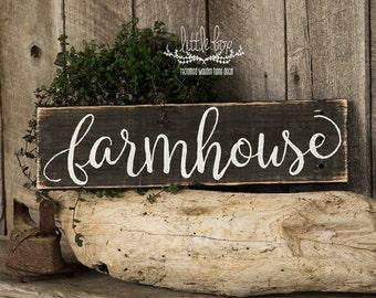 Large Farmhouse Script Wood Sign