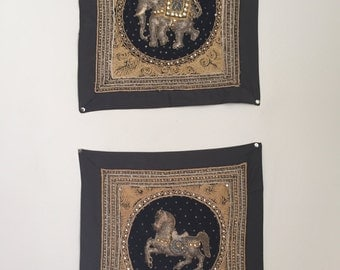 Set of 2 Vintage Embroidered and Beaded Indian Tapestries
