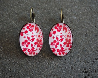 Earrings retro hibiscus