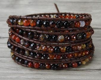 Fancy agate wrap bracelet Natural stone bead bracelet Agate bead bracelet Boho leather bracelet Yoga wrap bracelet woman bracelet SL-0266