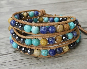 Leather wrap bracelet Sodalite Picture jasper Turquoise bead bracelet Beaded wrap bracelet 6mm bead bracelet bohemian bracelet SL-0300