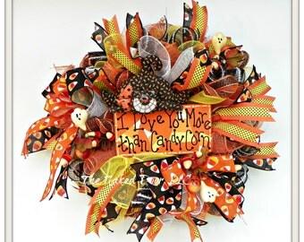 halloween wreath halloween candy corn wreath halloween cat halloween whimsical wreath halloween - Halloween Candy Wreath