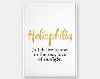 Heliophilia Wall Art, Definition Art, Printable Poster, Gold Print, Heliophilia Definition, Inspirational Wall Art, Printable Poster, 50x70