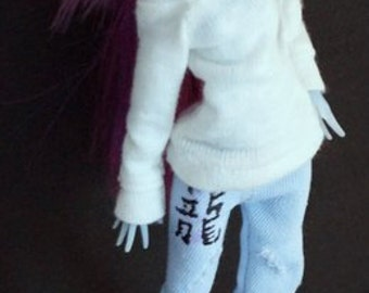 Clothing for monster doll. Jeans and pullover.