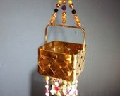pretty beach brass basket shells pearls sailfish crabs colorful stars sea ocean themed decorative hanging hippie boho chic decor art hanging