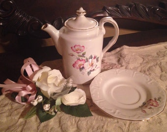 House of Webster Briar Rose/princess tea party/ Rose Quartz Decor/House of Webster Briar Rose Teapot and Tea Cup Saucer