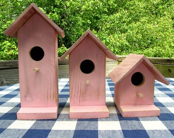 Cedar Birdhouses - Pink - Decorative for Porch, Deck, Patio, Garden, Indoor or Outdoor