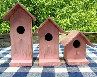 Cedar Birdhouses - Pink - Decorative for Porch, Deck, Patio, Garden, Indoor or Outdoor