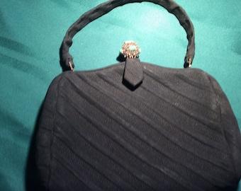 Mad Men style 1950's black fabric handbag