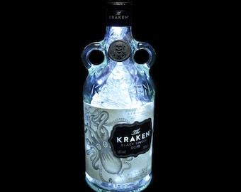 Kraken Black Spiced Rum Cool White LED Upcycled Bottle Lamp Light by JayEngrave