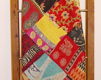 Kantha Quilt Cotton Queen  Bedcover Ethnic Patch Reversible Bedspread Handmade Designer Bedsheet VG-5
