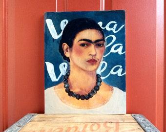 11x14 Frida Kahlo Wall Art Viva La Vida Frida Kahlo Mixed Media Painting on Wood 11x14 Inches Gift for Frida Kahlo fan Gift for Artist