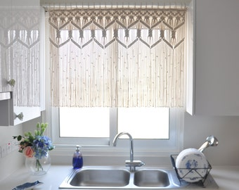 Macrame Custom Kitchen Curtains Fiber art Bohemian Short curtain Macrame wall hanging room divider wedding backdrop