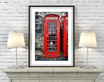 Red Telephone Box - Art Print or Canvas Print 'Unframed'  - Mid Century British retro photography phone call box poster - P&P WORLDWIDE