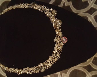 Onyx beaded wire crochet necklace