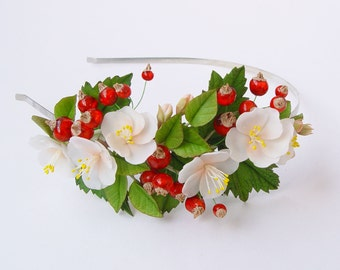 """Headband """"Flowers of apple tree with red currant"""""""
