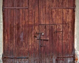 Old Wood Door Backdrop - red painted wood door - Printed Fabric Photography Background G0725